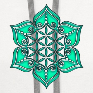 Flower of life, Lotus - Flower, green, Symbol of perfection and balance Women's T-Shirts - Contrast Hoodie