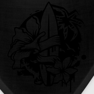 Surfboard with two flowers and a palm tree Zip Hoodies/Jackets - Bandana