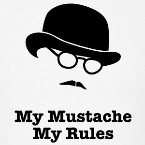 MY MUSTACHE - MY RULES bowler hat glasses Long Sleeve Shirts - Men's T-Shirt