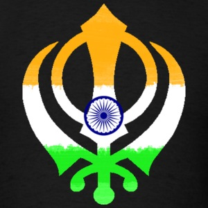 Indian Flag Khanda (Sikhism) Hoodies - Men's T-Shirt