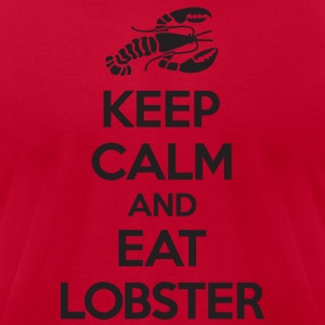 Keep Calm and Eat Lobster Black Hoodies - Men's T-Shirt by American Apparel