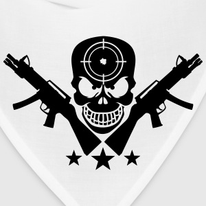 Assault Rifle Gun Skull Target Design T-Shirts - Bandana