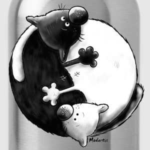 Black and White - Yin Yang – cats T-Shirts - Water Bottle