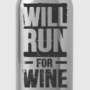 will run for wine - Water Bottle