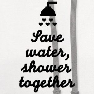 Save water Shower together Kids' Shirts - Contrast Hoodie