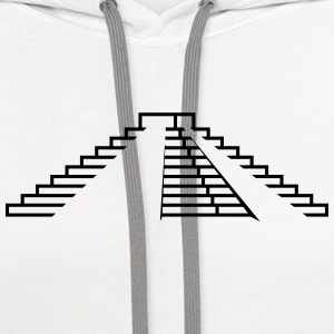 Maya,step pyramid,stages,pyramid,building,temple T-Shirts - Contrast Hoodie