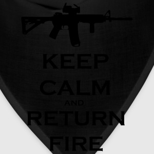 Men's Black Keep Calm & Return Fire T Shirt - Bandana