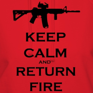 Men's Red Keep Calm & Return Fire T Shirt - Women's Hoodie