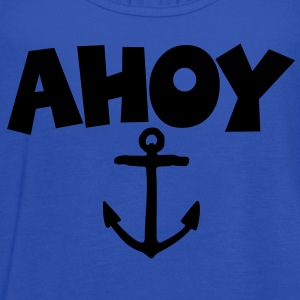 Ahoy Anchor T-Shirt (Blue/White) Women - Women's Flowy Tank Top by Bella