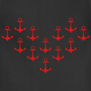 anchor pattern heart Women's T-Shirts - Adjustable Apron