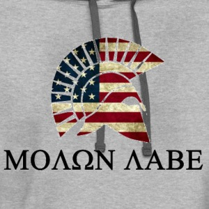 Molon Labe Red white and Blue T-Shirts - Contrast Hoodie
