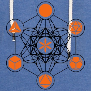 Platonic Solids, Metatrons Cube, Flower of Life Tanks - Unisex Lightweight Terry Hoodie