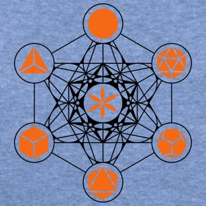Platonic Solids, Metatrons Cube, Flower of Life Tanks - Women's Wideneck Sweatshirt