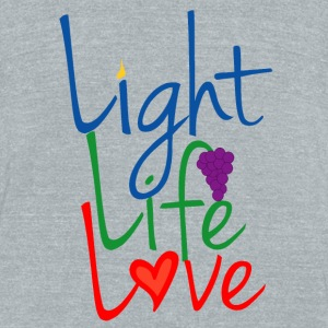 Light Life Love RGB Happy Font Bottles & Mugs - Unisex Tri-Blend T-Shirt by American Apparel