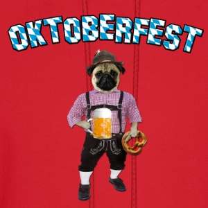 Oktoberfest Pug with beer and pretzel Long Sleeve Shirts - Men's Hoodie
