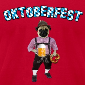Oktoberfest Pug with beer and pretzel Long Sleeve Shirts - Men's T-Shirt by American Apparel