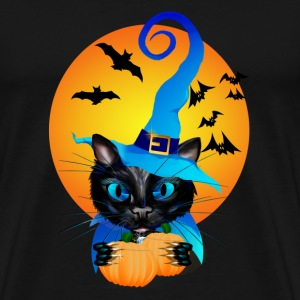 Blue Witch Kitty -Harvest Moon - Men's Premium T-Shirt