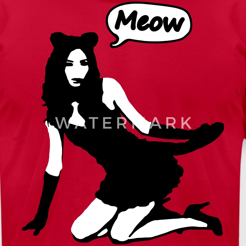 Pop Art - Sexy Naughty Girl Meow T-Shirts - Men's T-Shirt by American Apparel