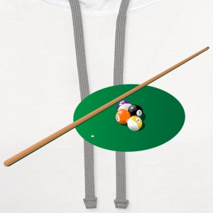 Pool - Pool Table - Eight Ball T-Shirts - Contrast Hoodie