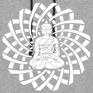 Shakyamuni Buddha in white - Colorblock Hoodie
