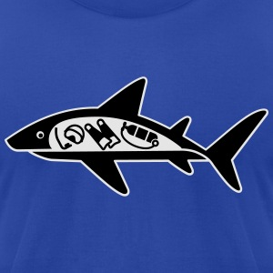 Shark ate scuba diver funny T-Shirt Hoodies - Men's T-Shirt by American Apparel