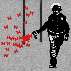 Police - Street Art Pepper Spray Cop Butterfly T-Shirts - Colorblock Hoodie
