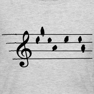 Music - Treble Clef - birds as notes T-Shirts - Women's Long Sleeve Jersey T-Shirt