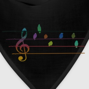 Colorful musical birds on power line T-Shirts - Bandana