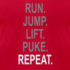 Run. Jump. Lift. Puke. Repeat. Tanks - Men's T-Shirt by American Apparel