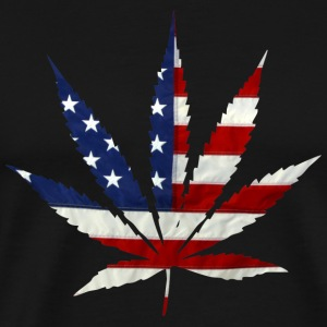 Marijuana Leaf American Flag - Men's Premium T-Shirt