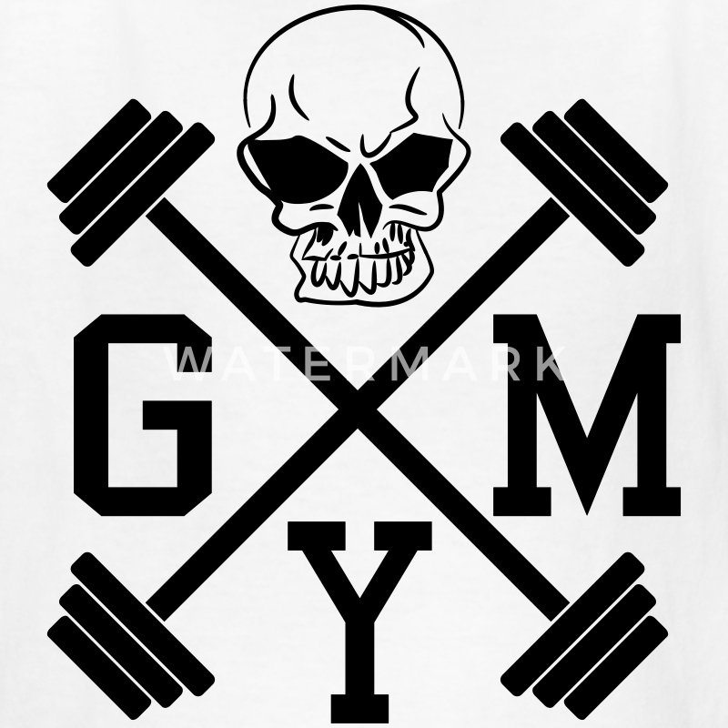 Gym Skull Dumbbell Barbell Weight Athletics 1c Kids' Shirts - Kids' T-Shirt