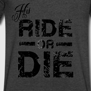His Ride Or Die Black Long Sleeve Shirts - Men's V-Neck T-Shirt by Canvas