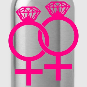 Lesbian Marriage Ring Symbol T-Shirts - Water Bottle