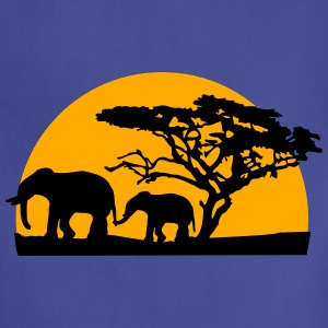 Sunset In Africa Tree And Elephants Women's T-Shirts - Adjustable Apron