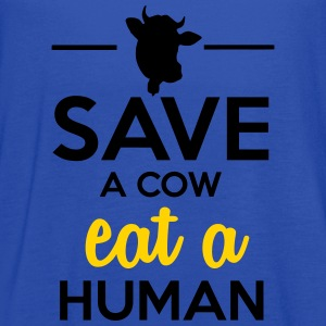People & Pets - Save a cow eat a human Women's T-Shirts - Women's Flowy Tank Top by Bella