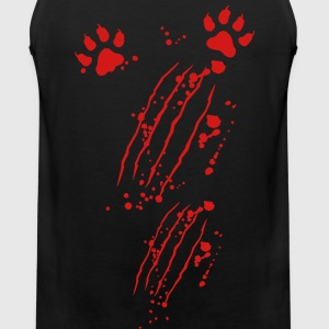 Scratch mark with blood and paws T-Shirts - Men's Premium Tank