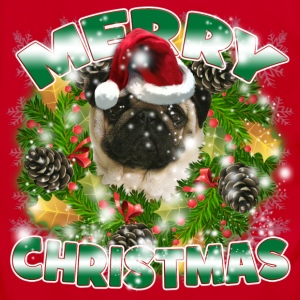 Merry Christmas Pug Women's T-Shirts - Unisex Fleece Zip Hoodie by American Apparel