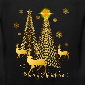 Gold Christmas Trees and Reindeer Oval - Men's Premium Tank
