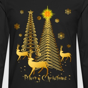 Gold Christmas Trees and Reindeer - Men's Premium Long Sleeve T-Shirt