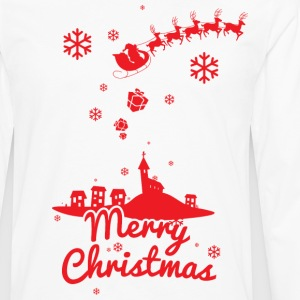 Merry christmas, a scene of a small village T-Shirts - Men's Premium Long Sleeve T-Shirt