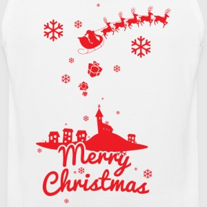 Merry christmas, a scene of a small village T-Shirts - Men's Premium Tank