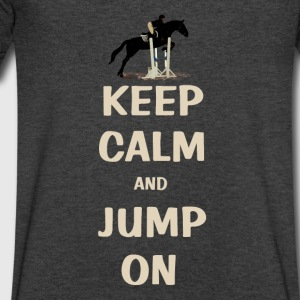 Keep Calm and Jump On Horse Long Sleeve Shirts - Men's V-Neck T-Shirt by Canvas