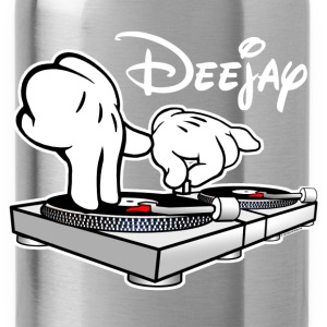 DJ Cartoon Hands with Vinyl Record Turntables - Water Bottle