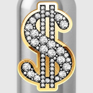 Golden Dollar Sign with Diamonds T-Shirts - Water Bottle