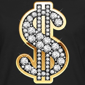 Golden Dollar Sign with Diamonds T-Shirts - Men's Premium Long Sleeve T-Shirt