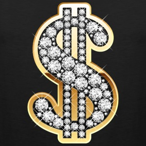 Golden Dollar Sign with Diamonds T-Shirts - Men's Premium Tank