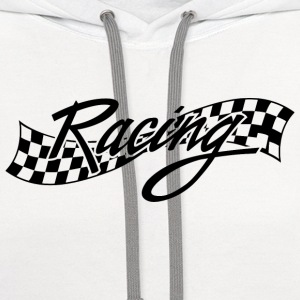 Racing - Racer - Checkered Flag T-Shirts - Contrast Hoodie