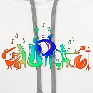 Colorful Jazz Band T-Shirts - Contrast Hoodie