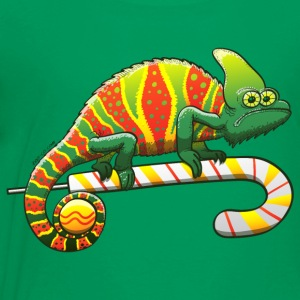 Christmas Chameleon on a Candy Cane Kids' Shirts - Toddler Premium T-Shirt