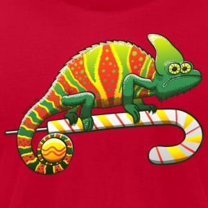 Christmas Chameleon on a Candy Cane Long Sleeve Shirts - Men's T-Shirt by American Apparel